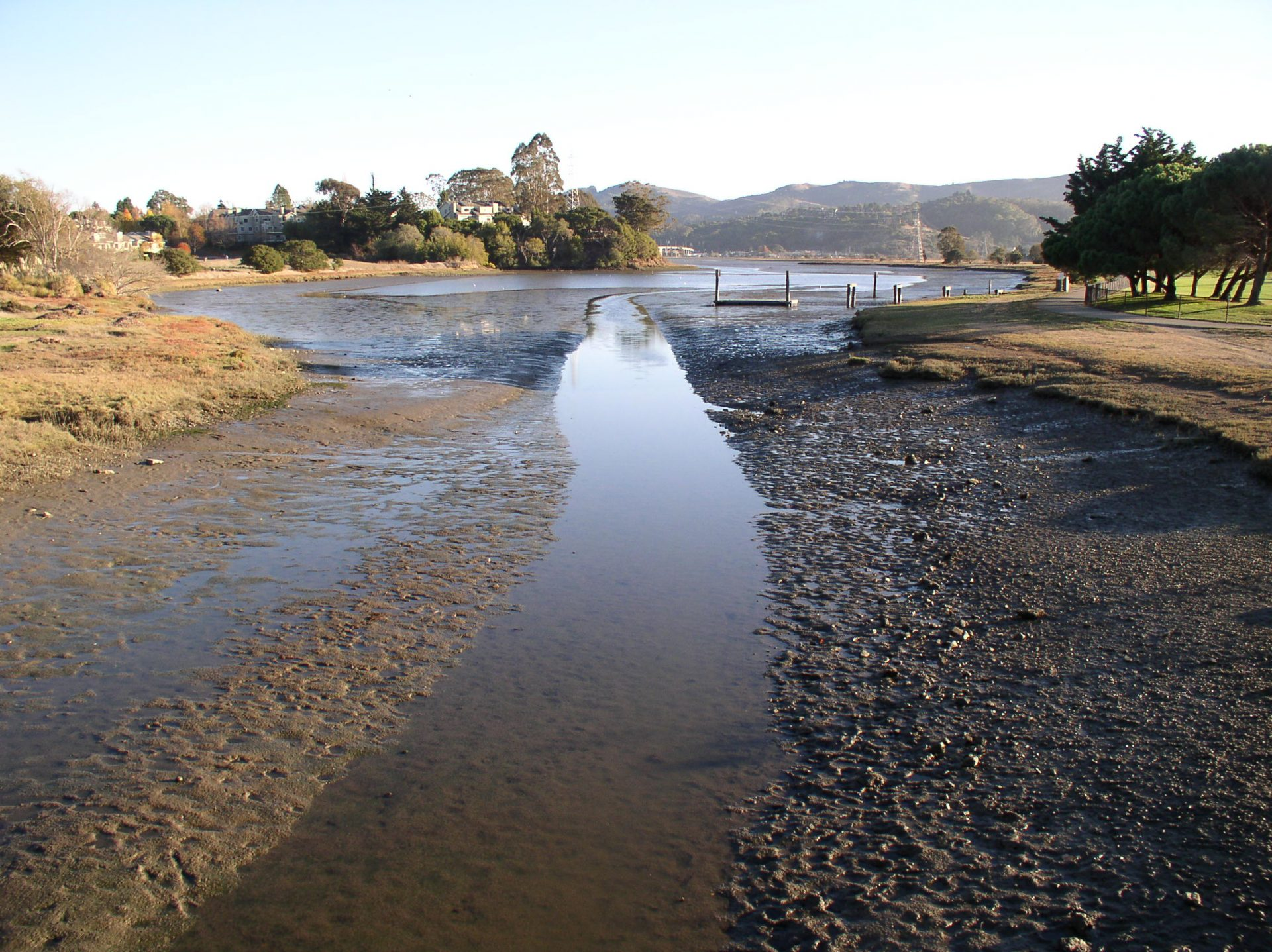low tide channel in center, mud flats on both sides
