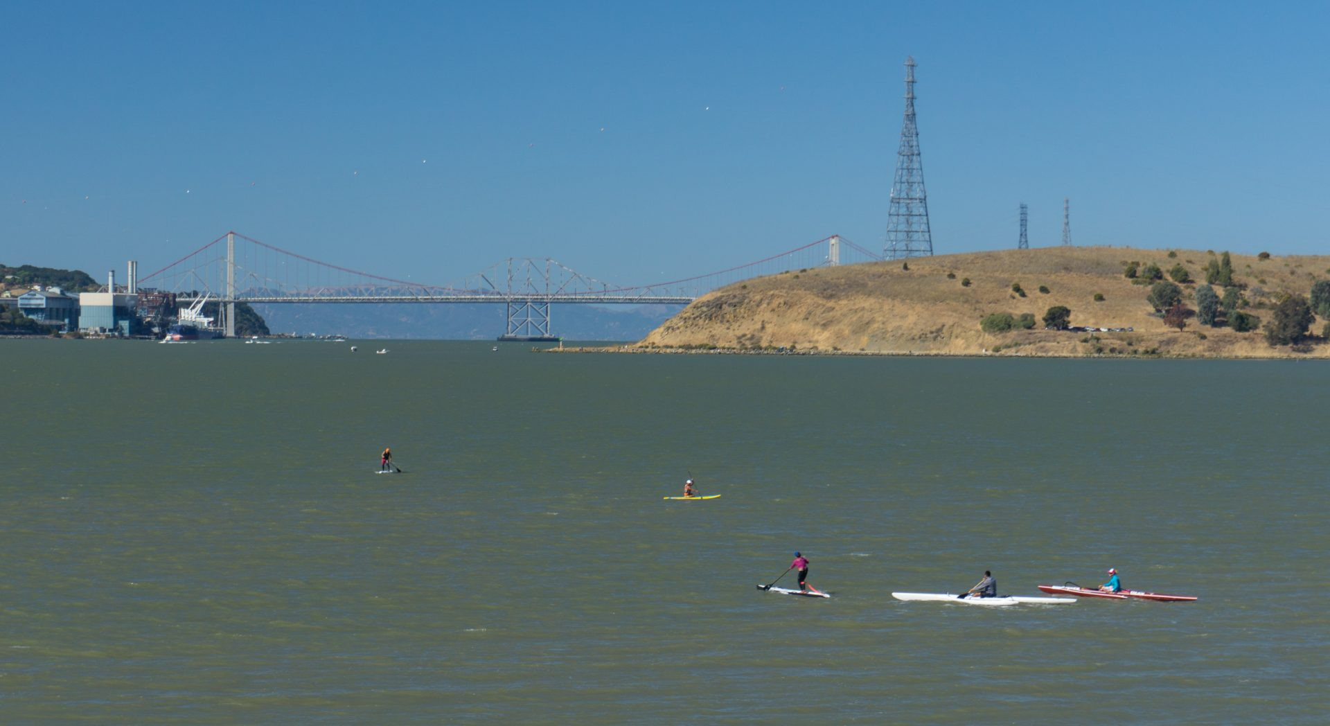 paddlers in bay with Carquinez Bridge in background
