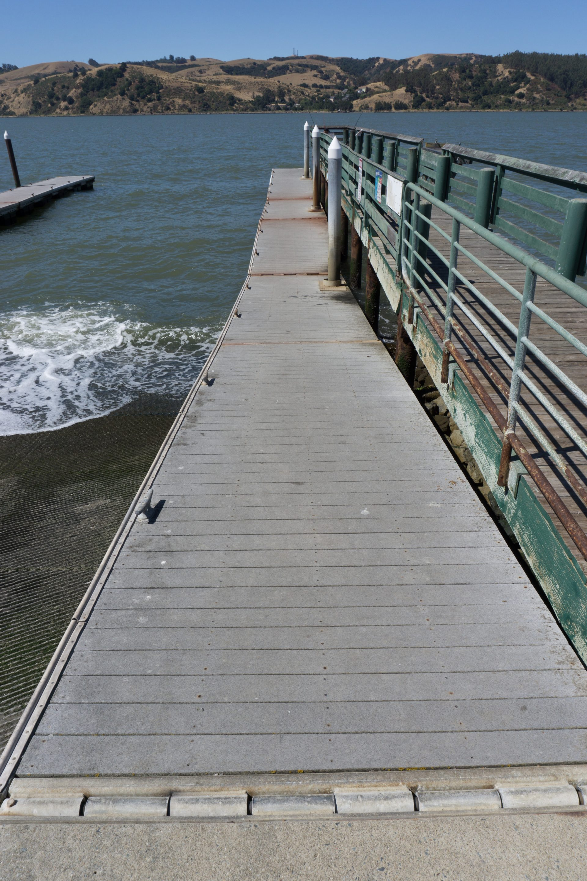 closeup of walkway next to boat ramp