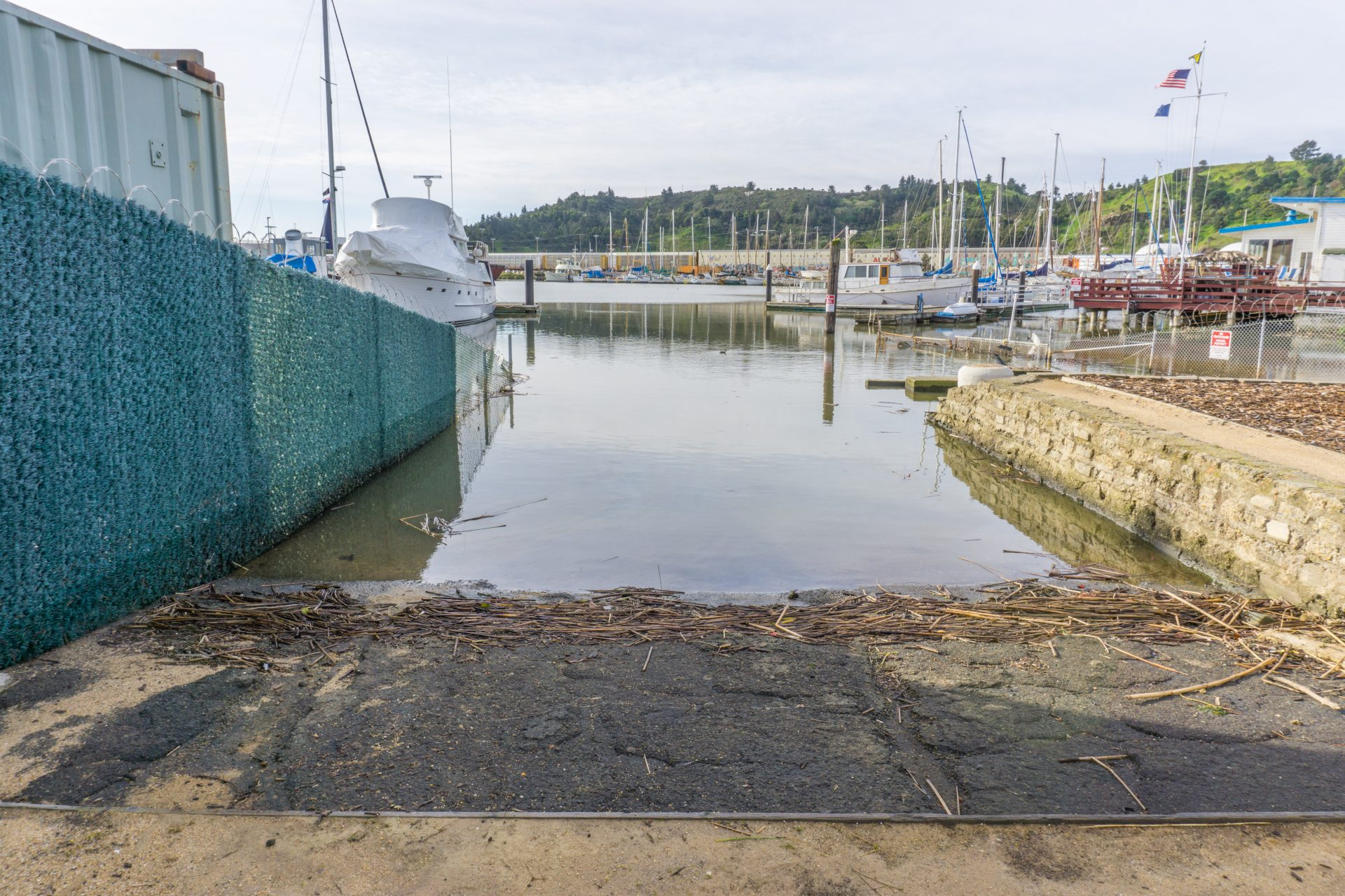 boat ramp descends into water