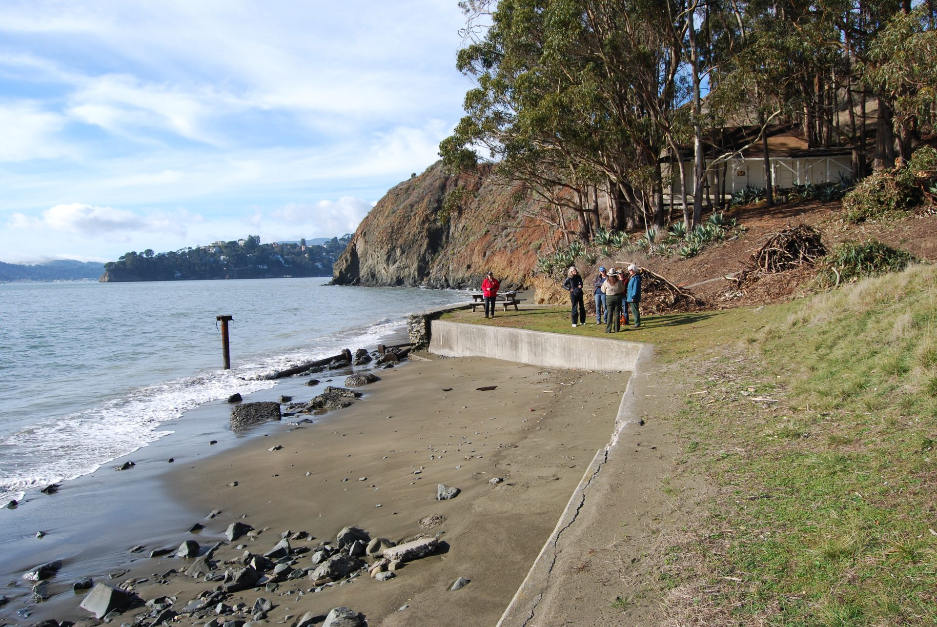 water, beach, concrete sea wall with people along the edge, bluffs and trees beyond