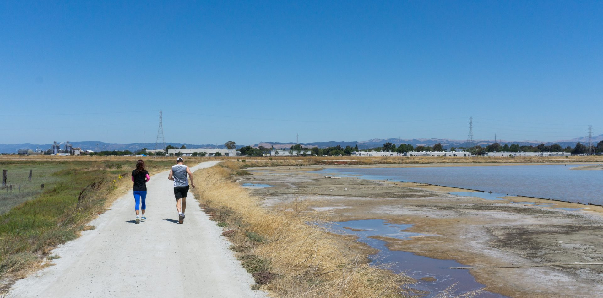 Two joggers on a gravel path, with marshlands on right