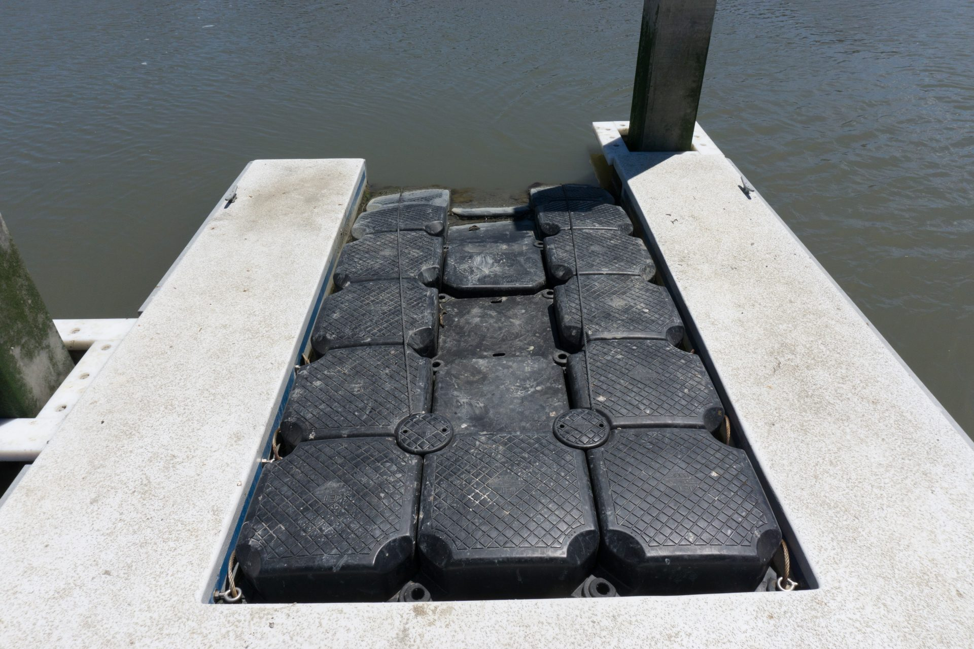 Closeup of rubber boat launch