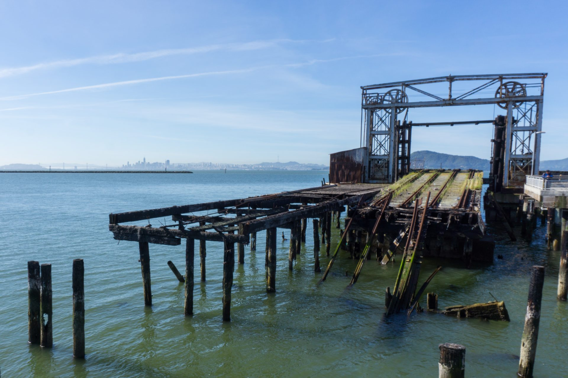 Dilapidated dock and old machinery