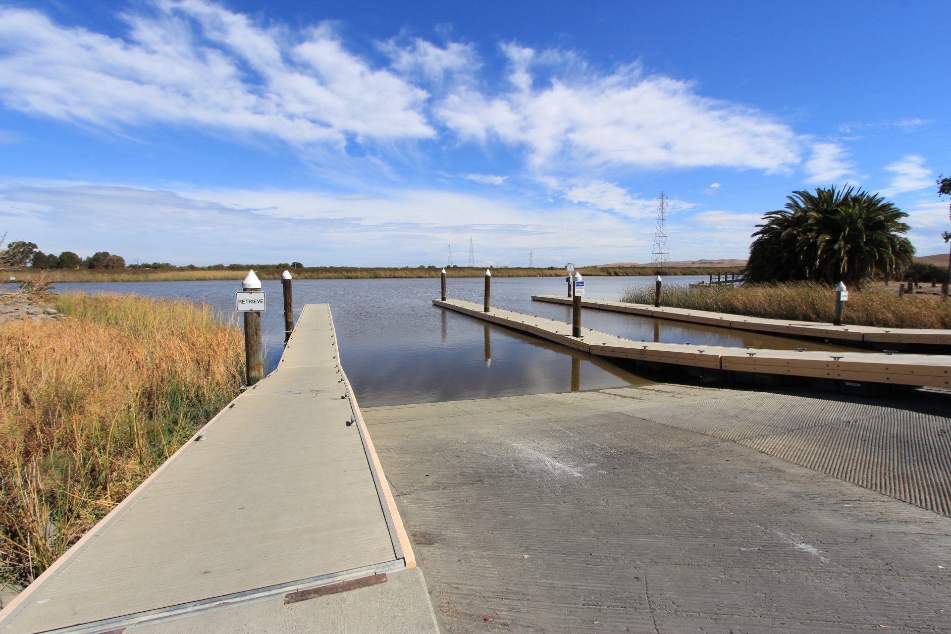 Looking down boat ramp to water