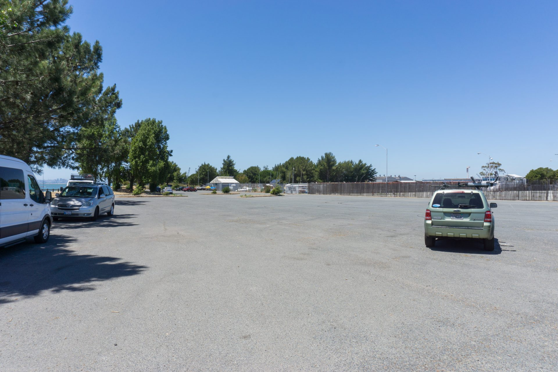mostly empty parking lot