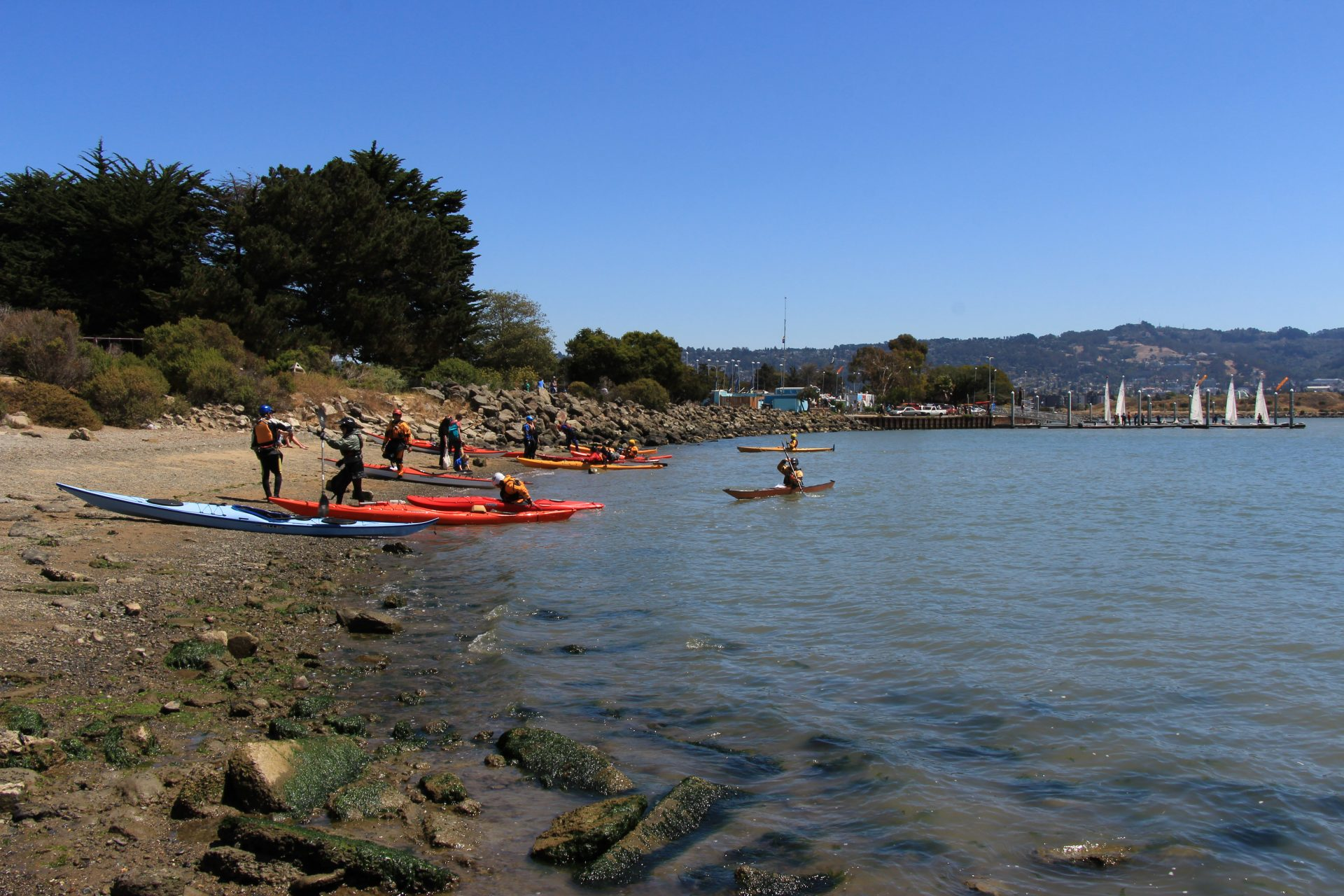 Group of kayakers coming ashore on rocky beach