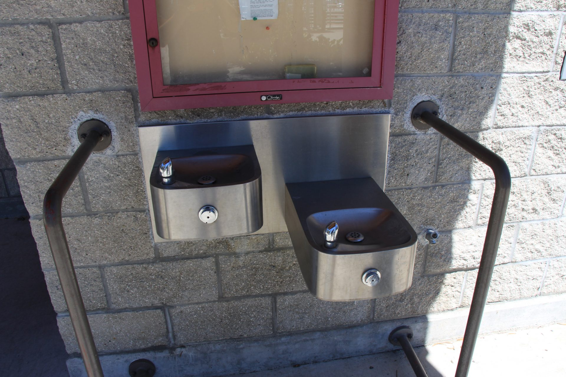 stainless steel drinking fountains at two heights