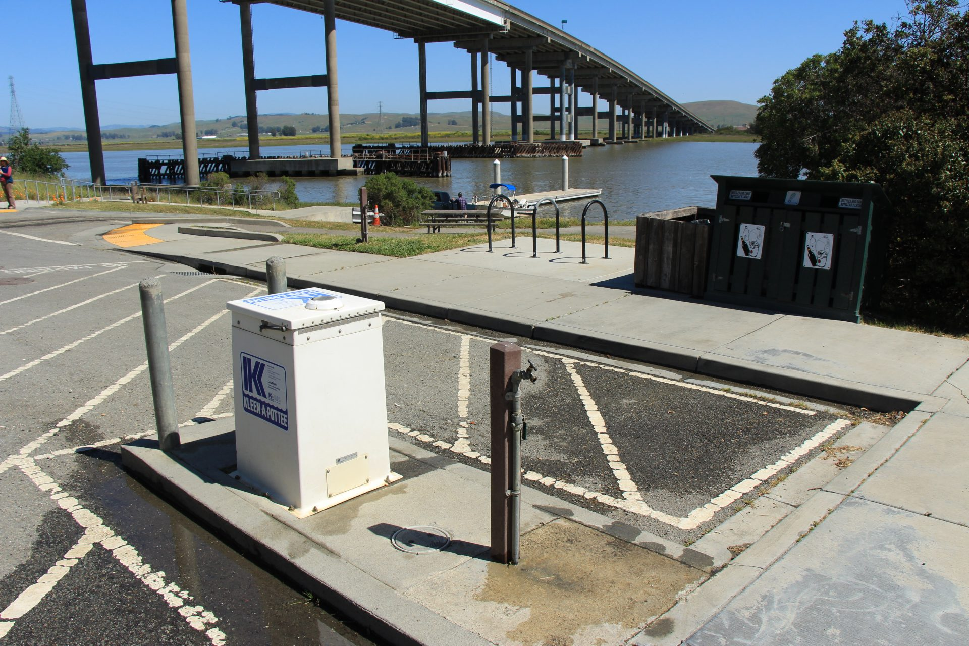 Parking area with water spigot