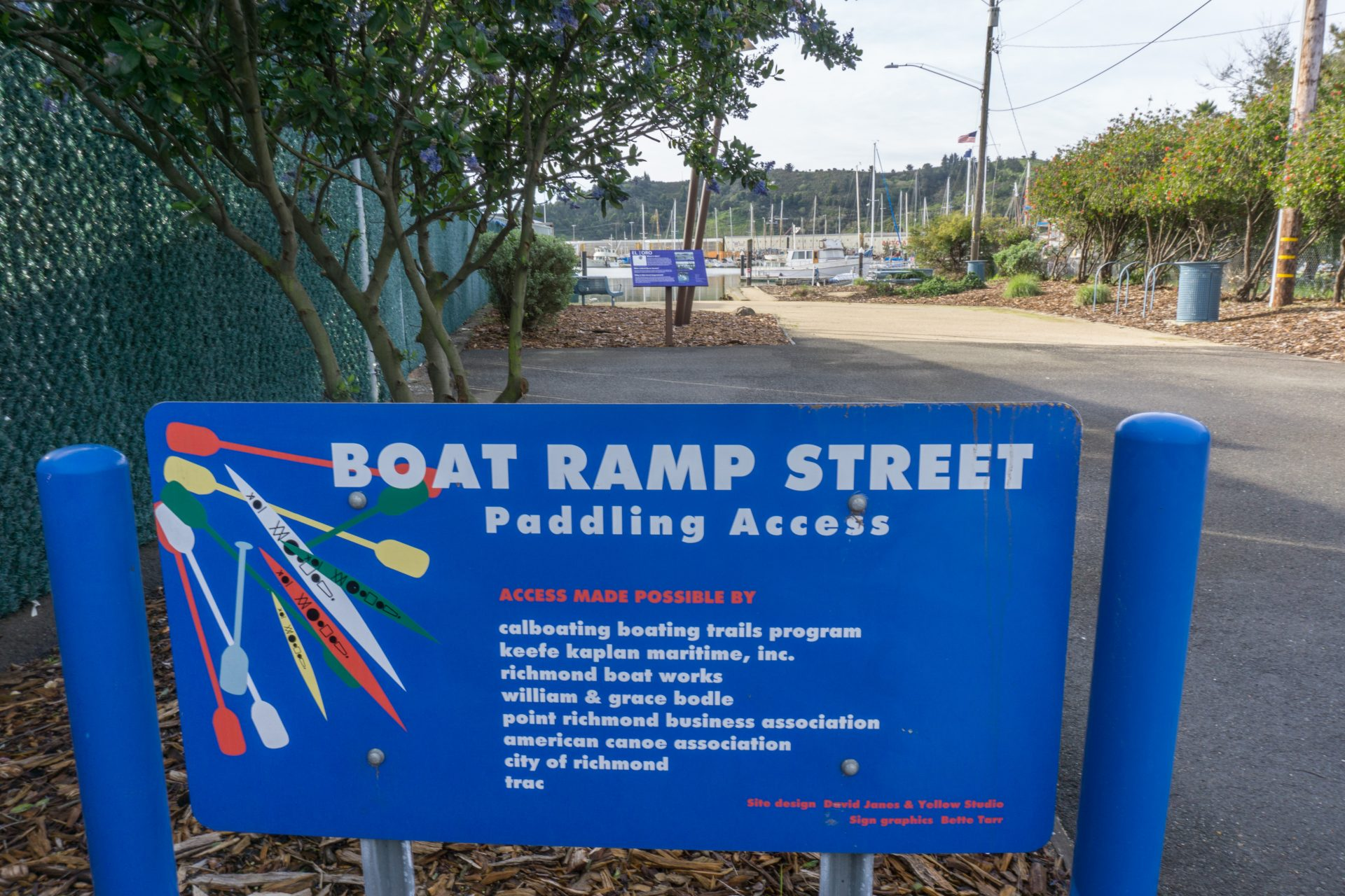 Sign for Boat Ramp Street Paddling Access, with funder credits
