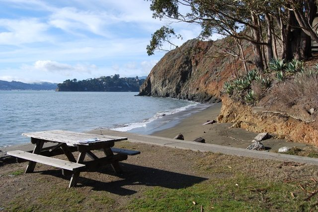 picnic table near edge of seawall, beach and bluffs beyond