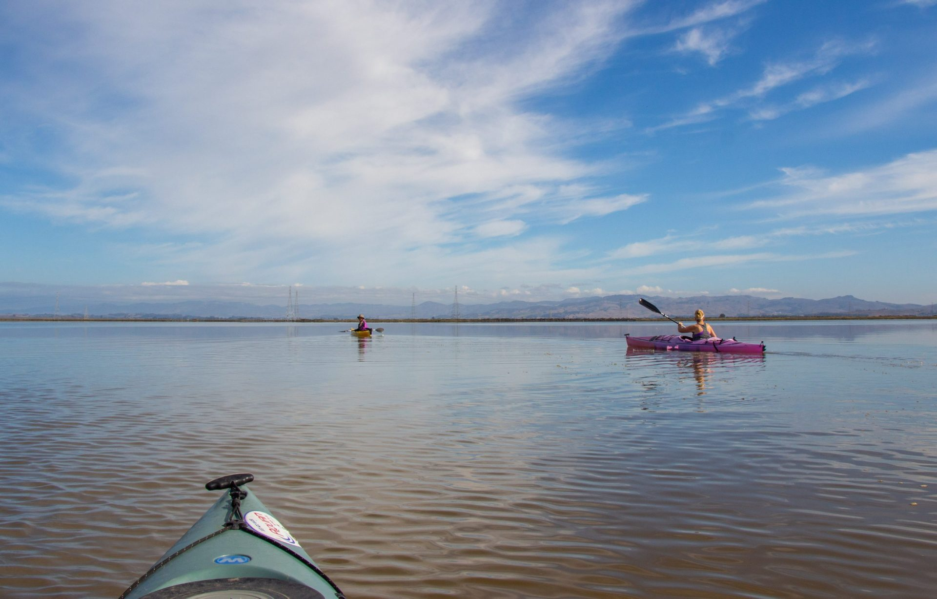 view from kayak to still waters