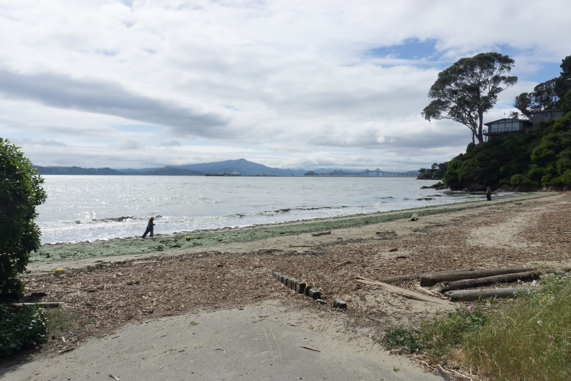 Looking from paved area across beach to bay