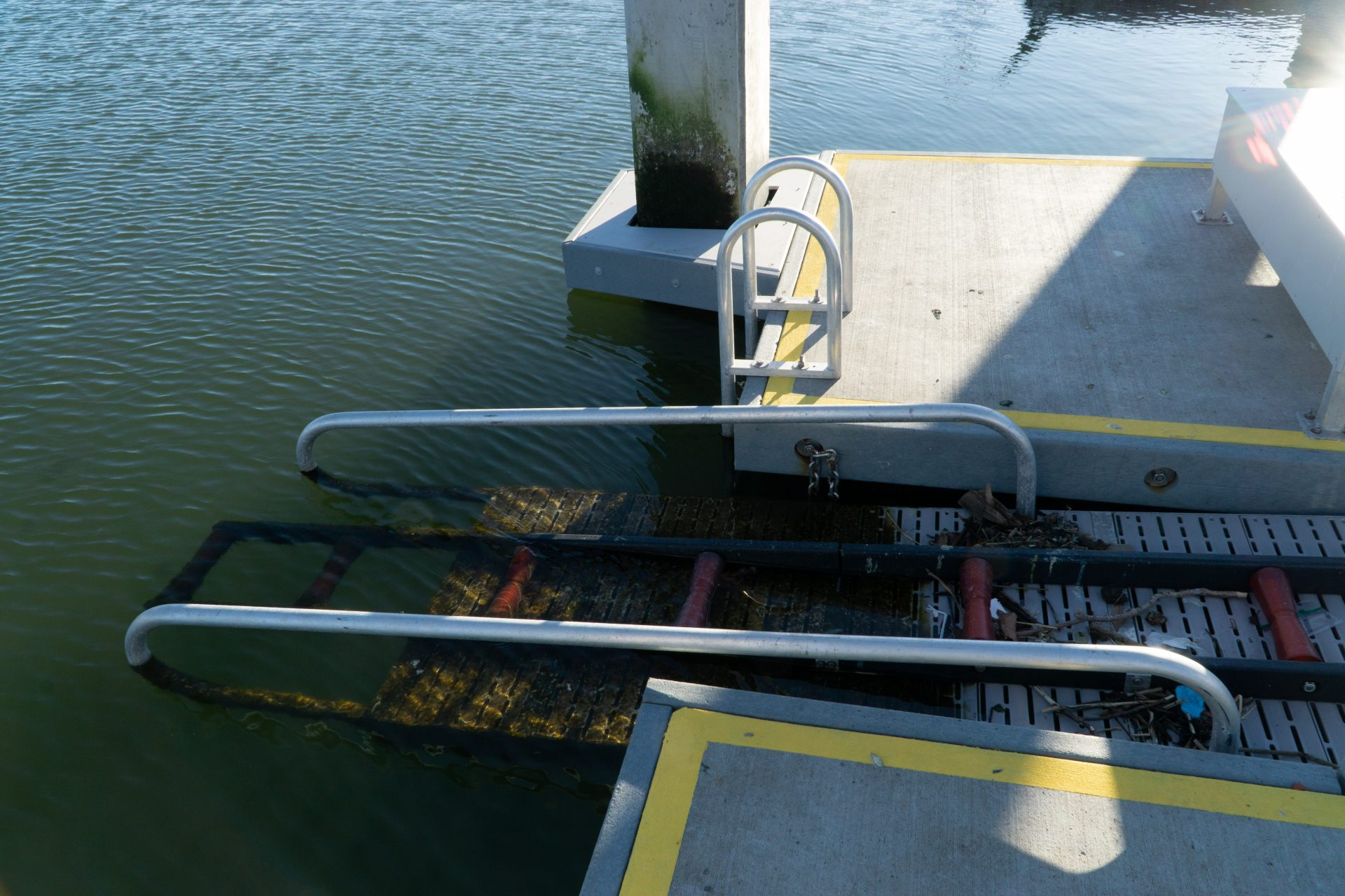 detail of boat launch's submerged end