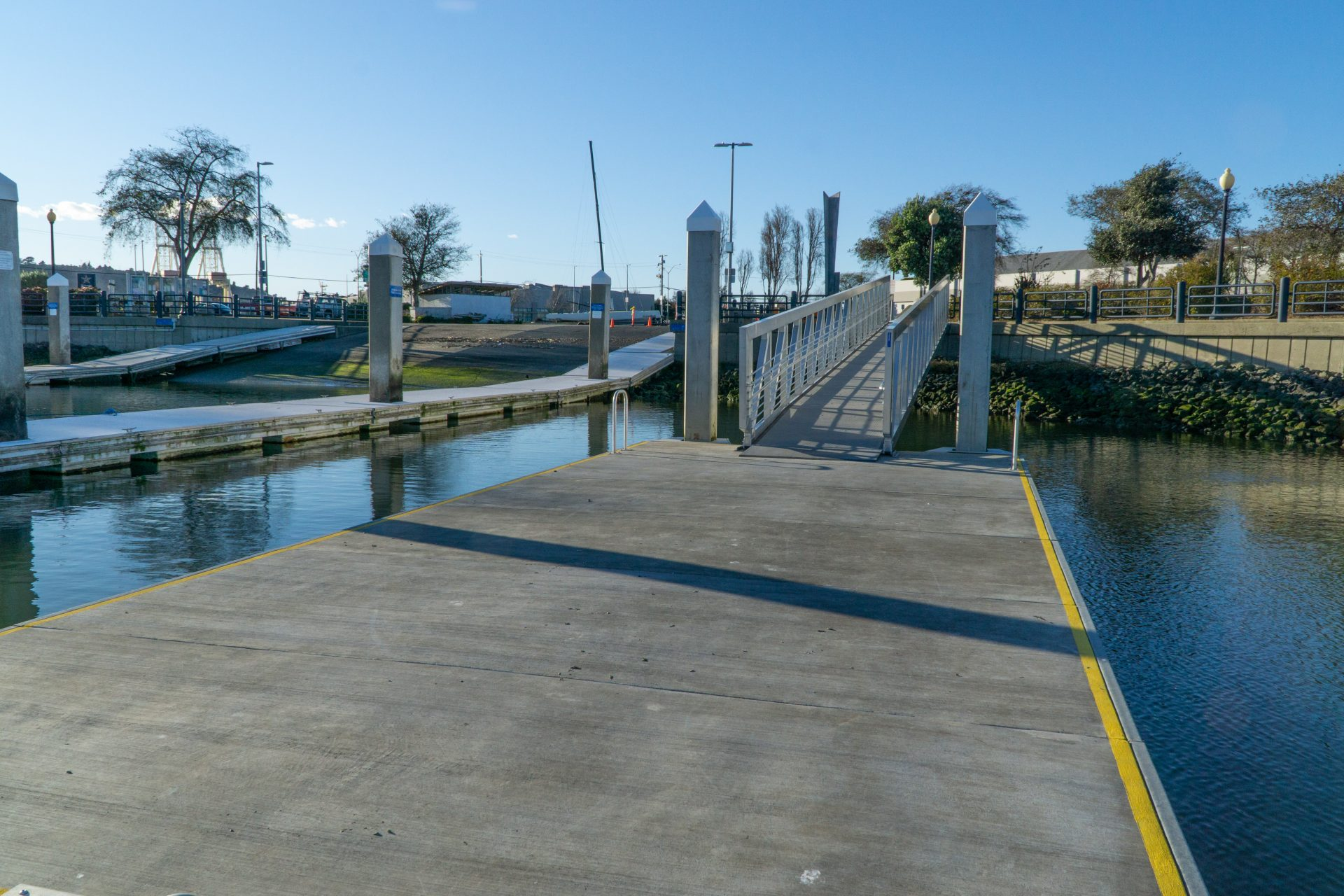 cement pier with ramp to shore