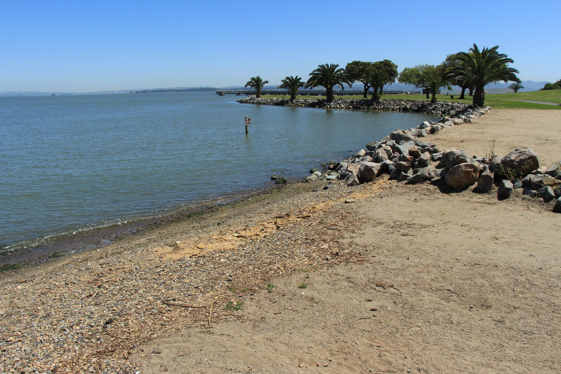 pebbly beach descends into bay, with riprap, grassy meadow and palm trees in distance