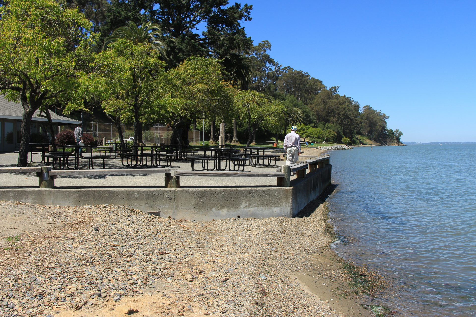 person standing on concrete platform surrounded by picnnic tables. Retaining wall around platform descends into bay water