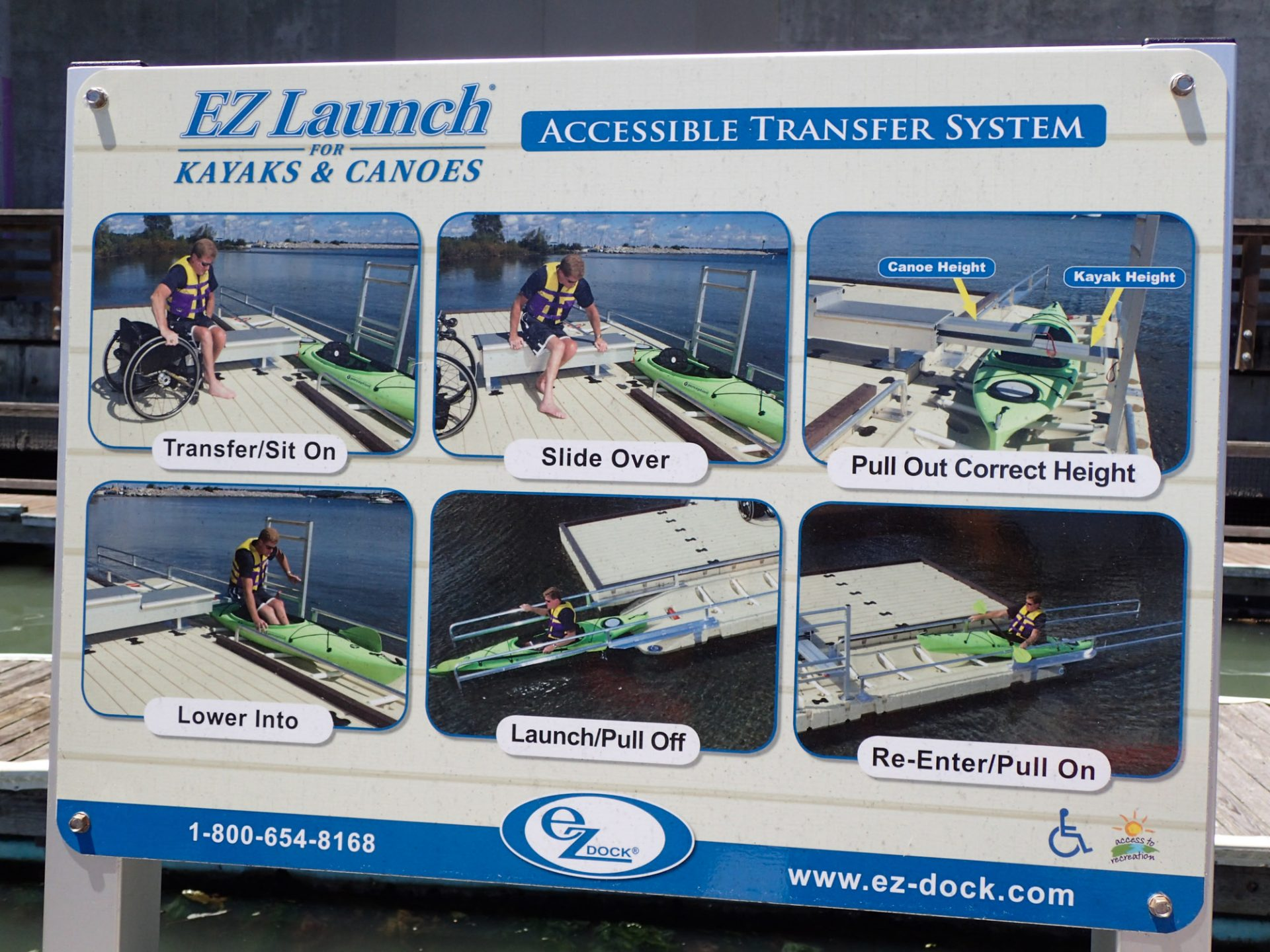 """Sign: """"EZ Launch for Kayaks and Canoes: Accessible Transfer System,"""" with images of a person in a wheelchair getting into a kayak and disembarking: Transfer/sit on, Slide over, Pull out correct height, Lower into, Launch/Pull off, Re-enter/Pull on."""" Phone: 1-800-654-8168, website: www.ez-dock.com"""