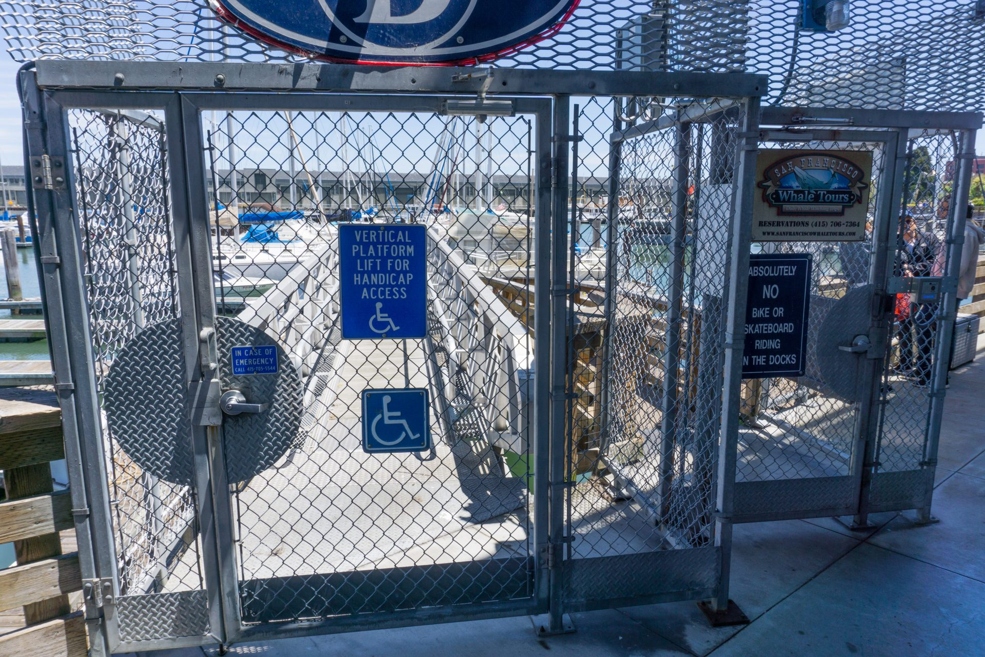 Chainlink gate with sign: