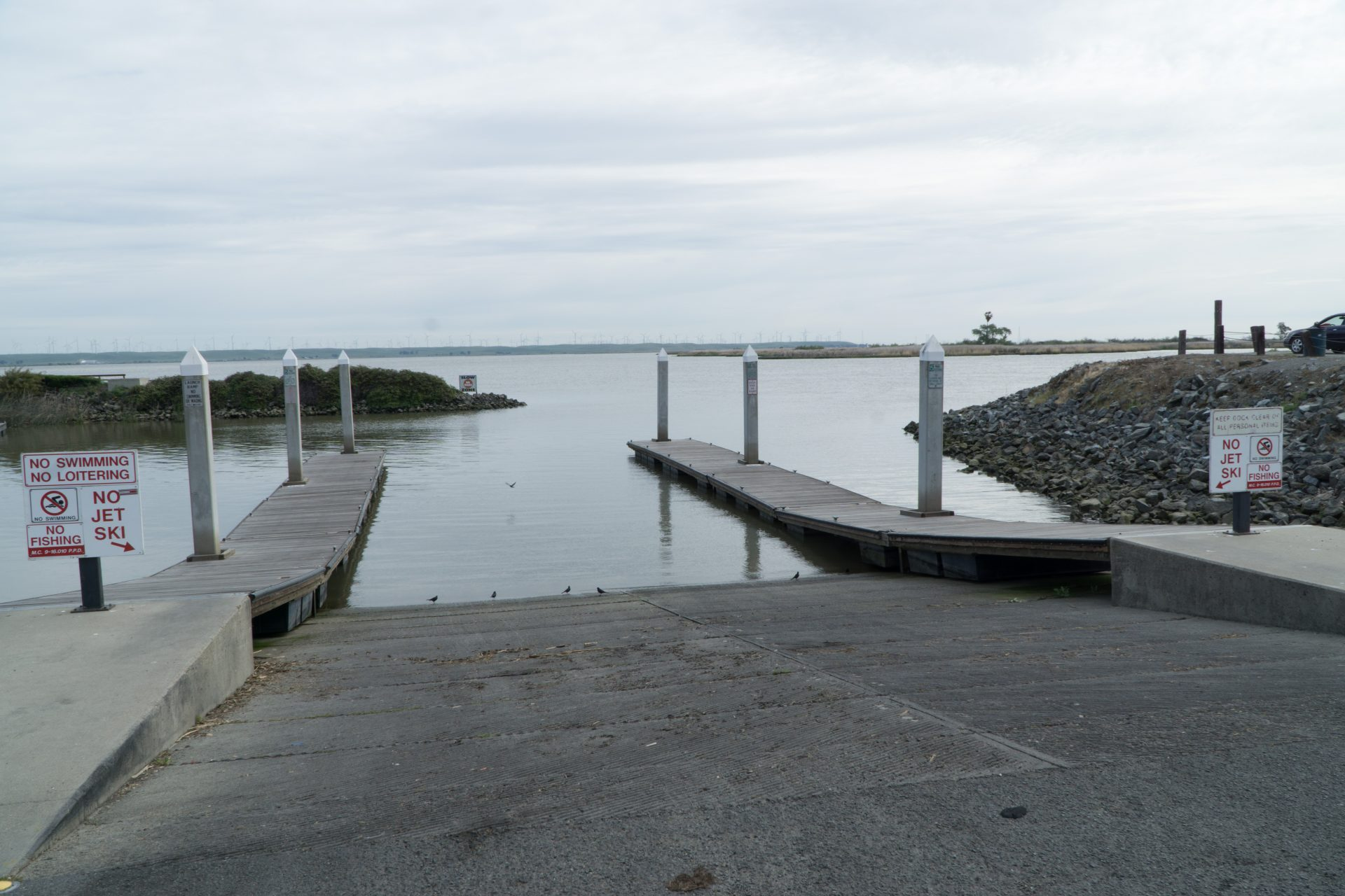 large boat launch descends into water