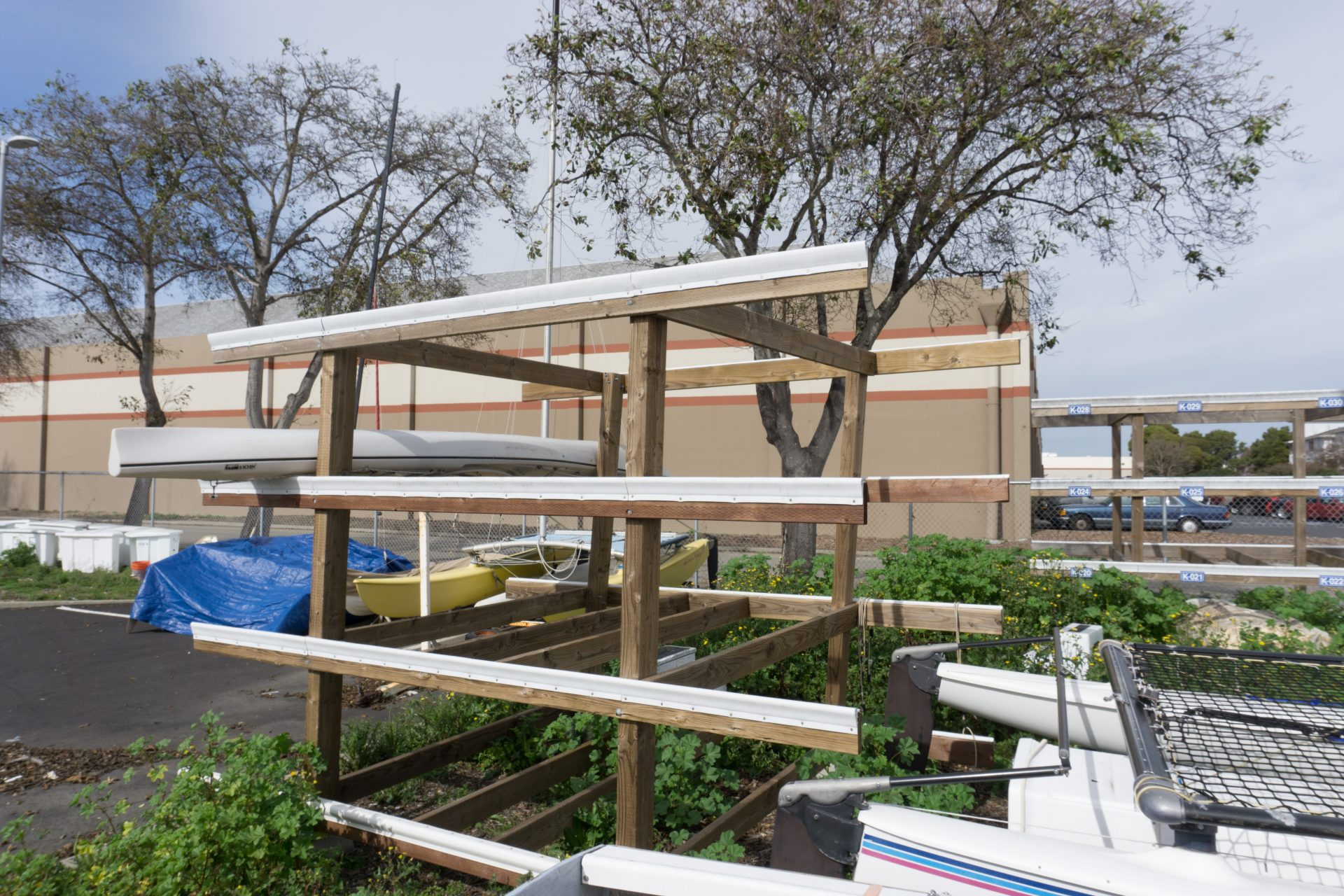 wooden racks for kayaks and other boats