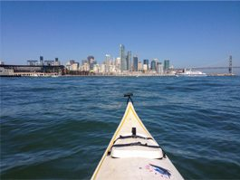 looking from kayak to SF skyline