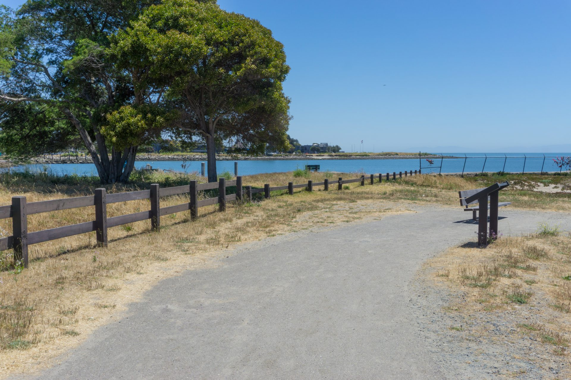 gravel path curving to right. Trees on left, bay in distance