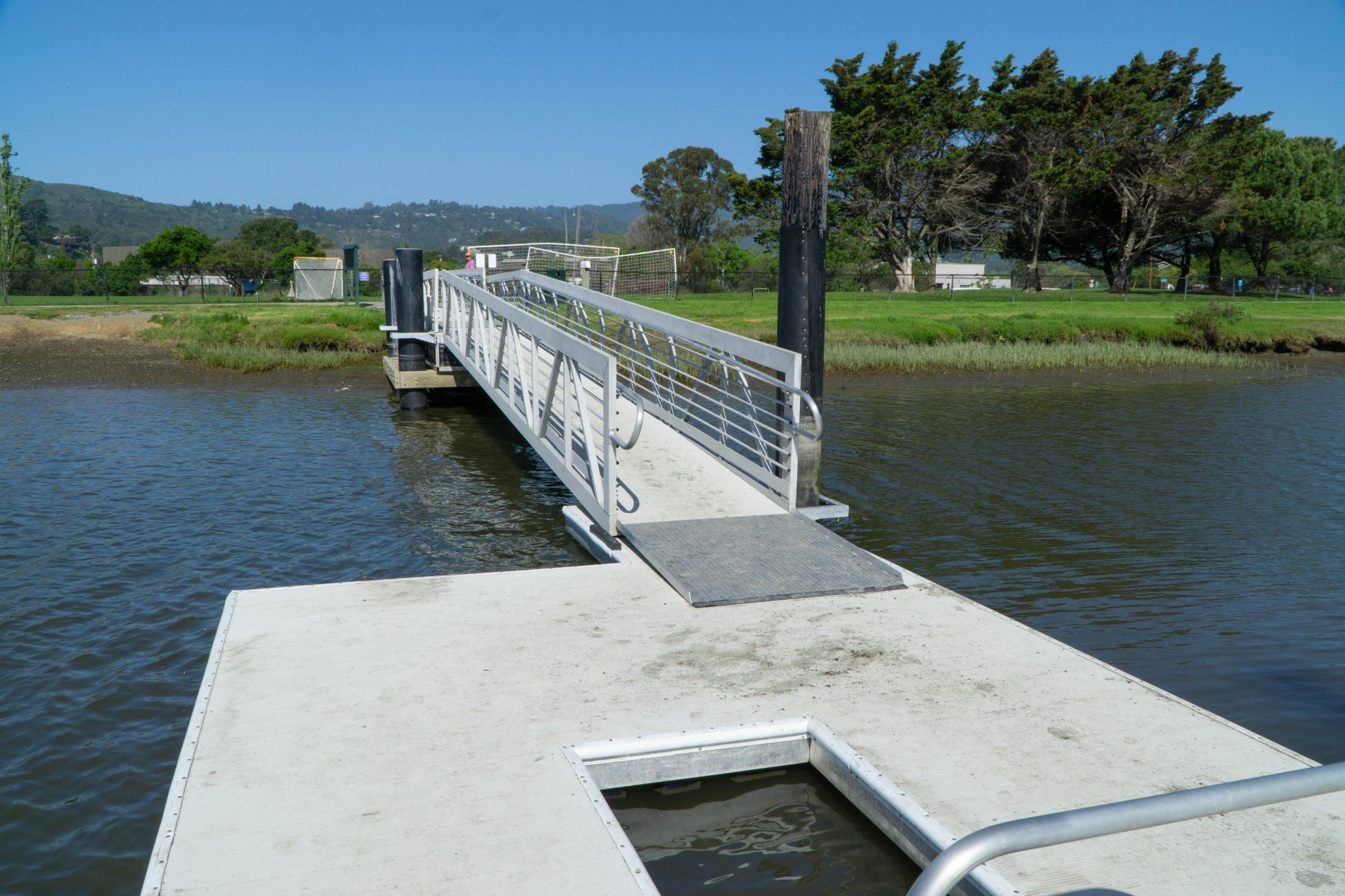 kayak-friendly pier with ramp to shore