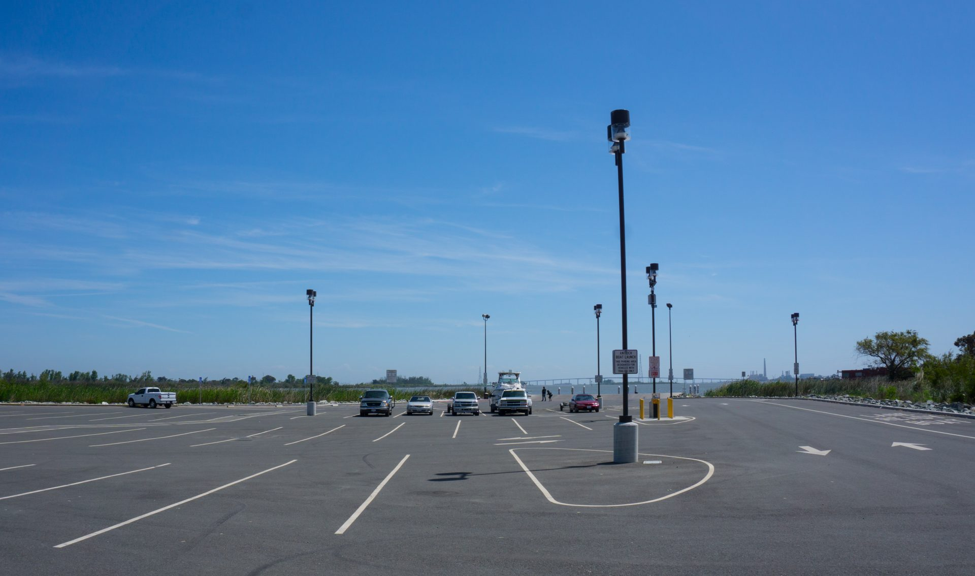 empty parking lot with lights