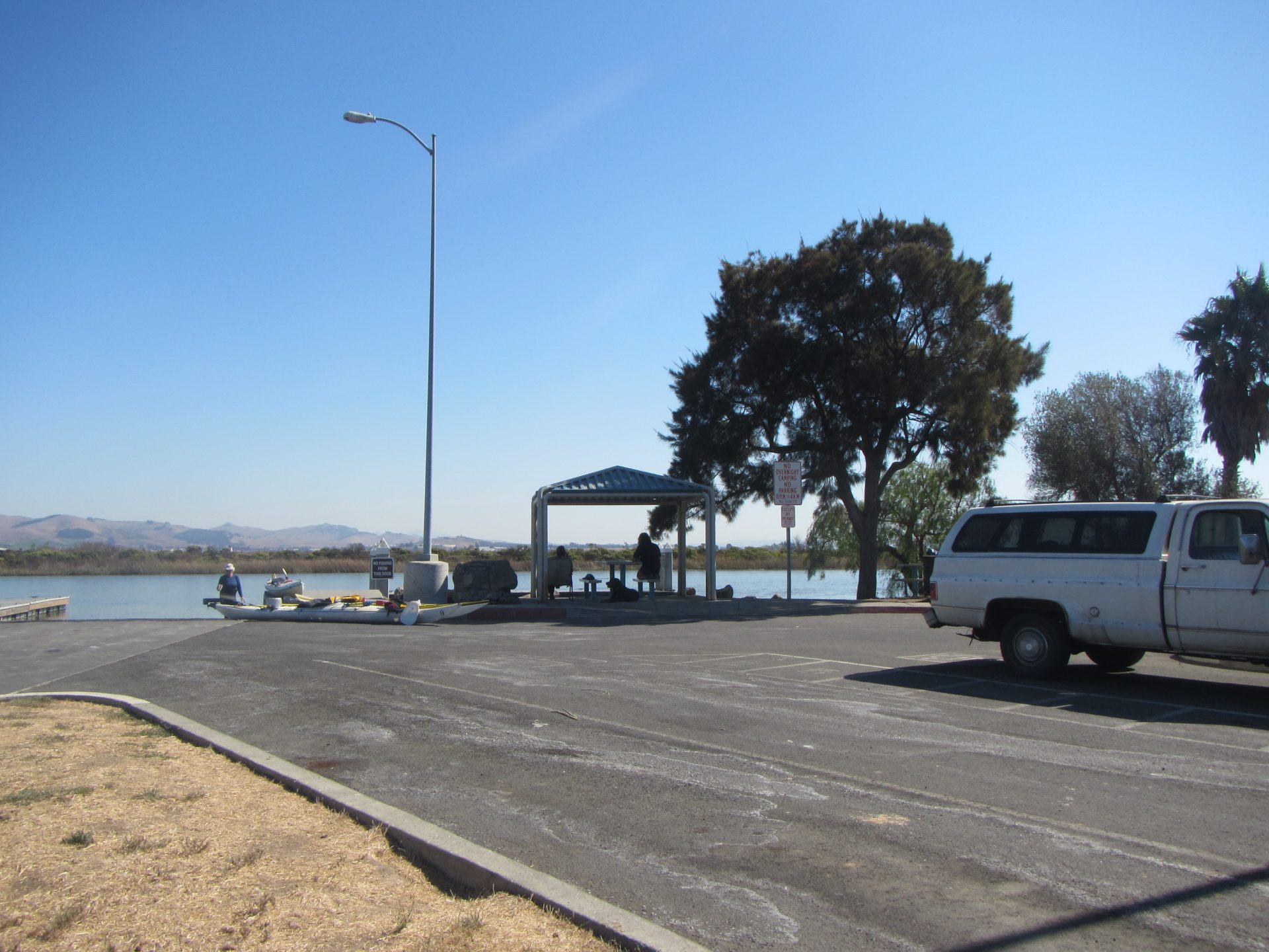 View across parking lot to shade structure