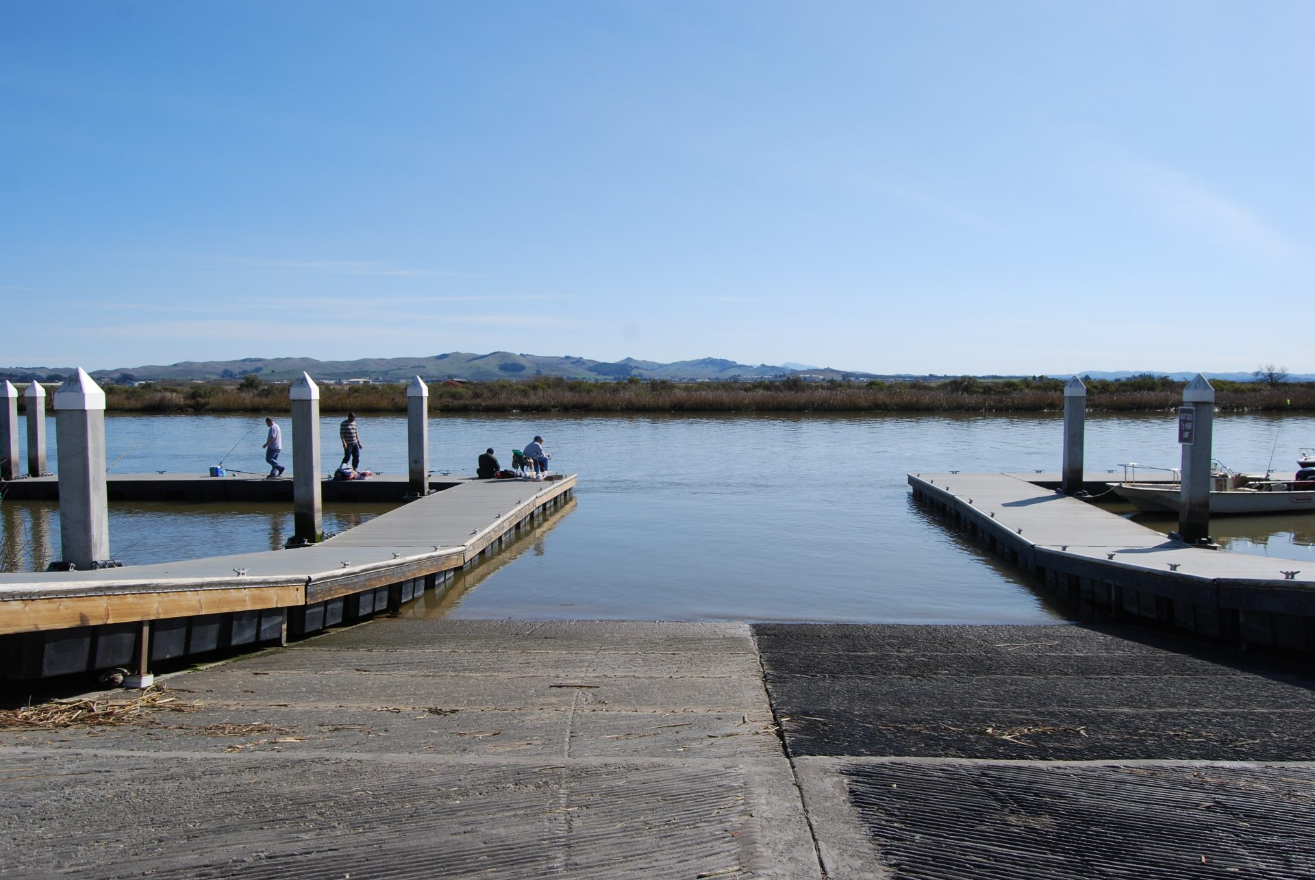 View down boat ramp into water
