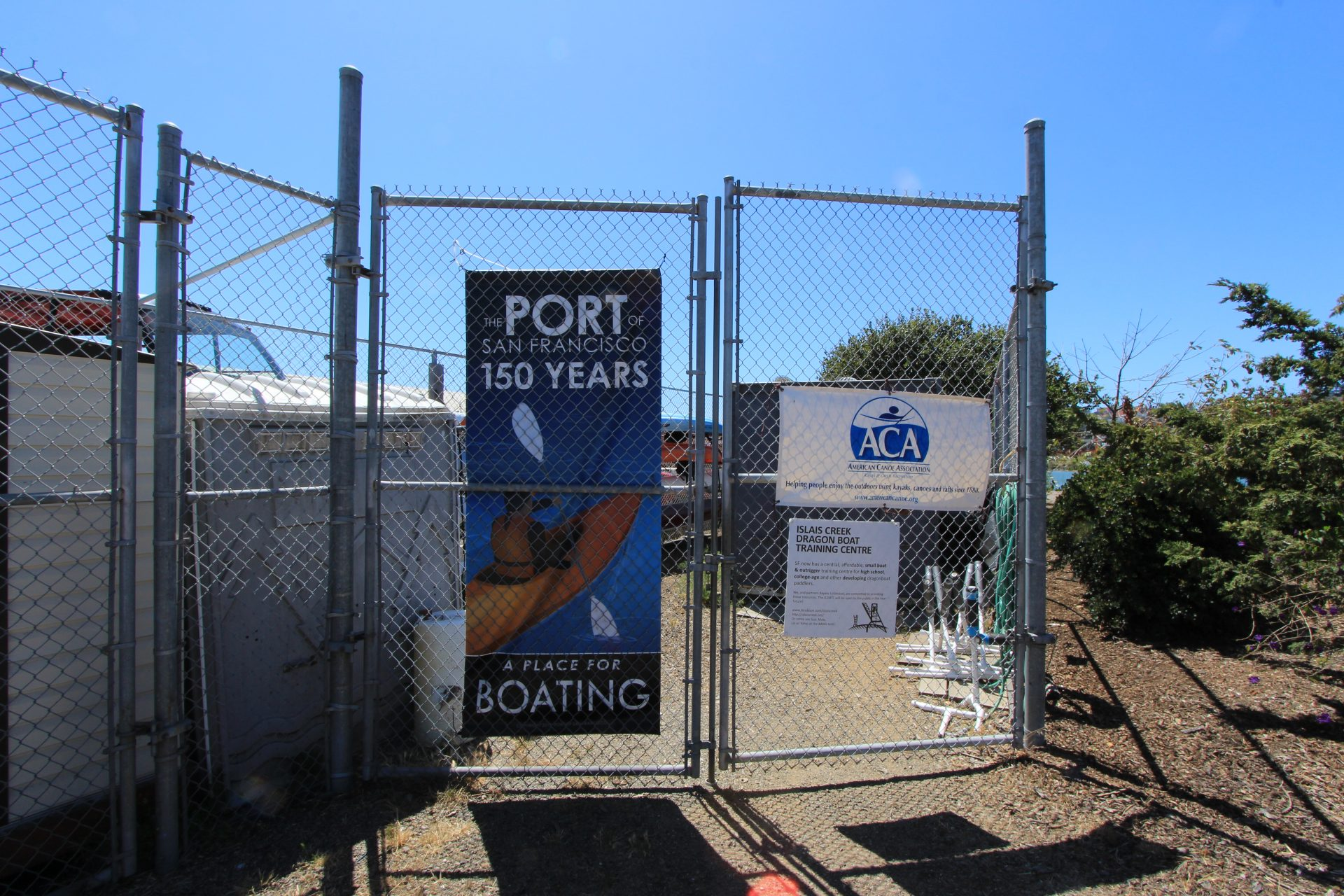 Chainlink fence with sign,