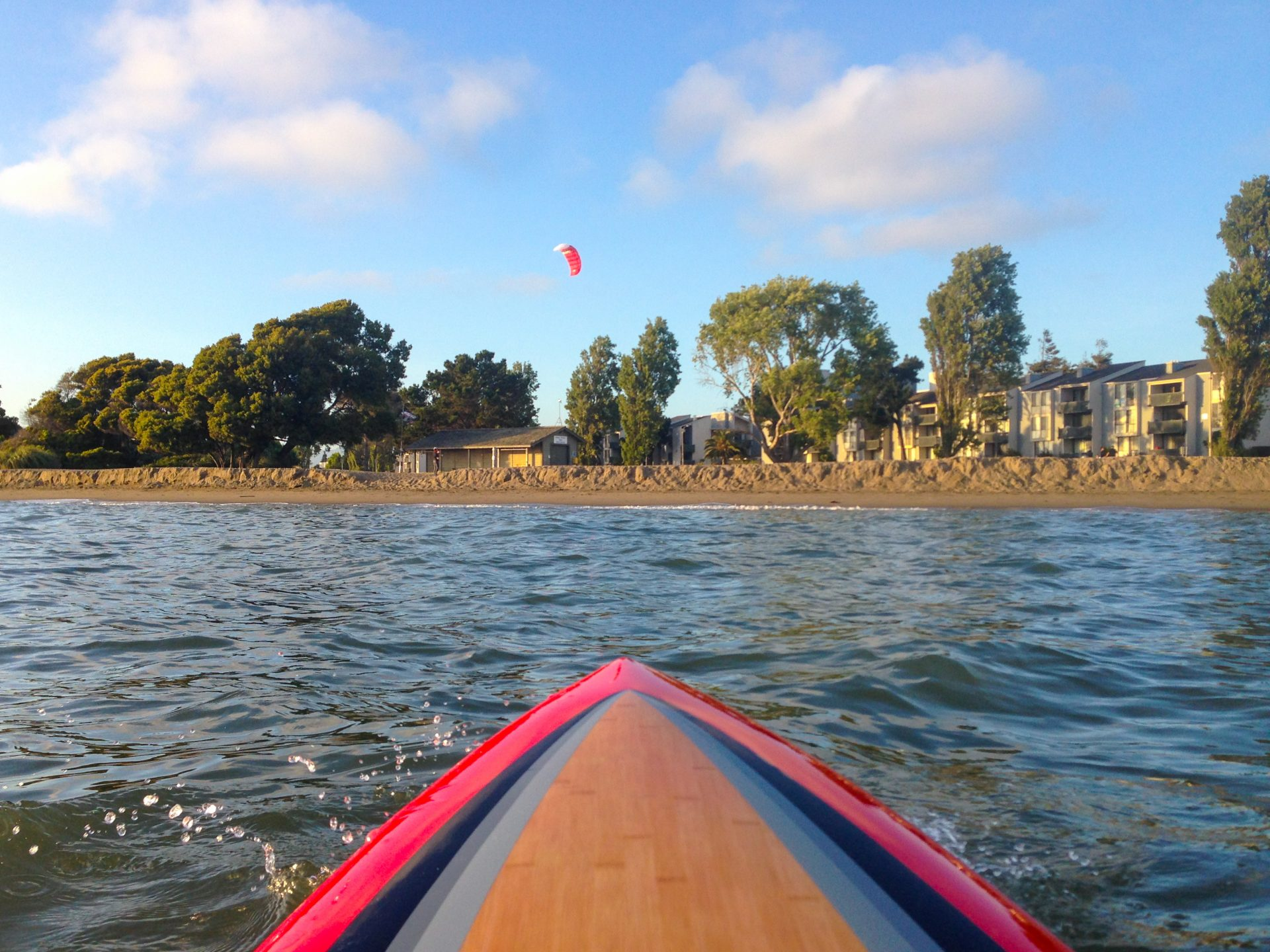 View from paddleboard toward sandy beach and trees and apartments beyond