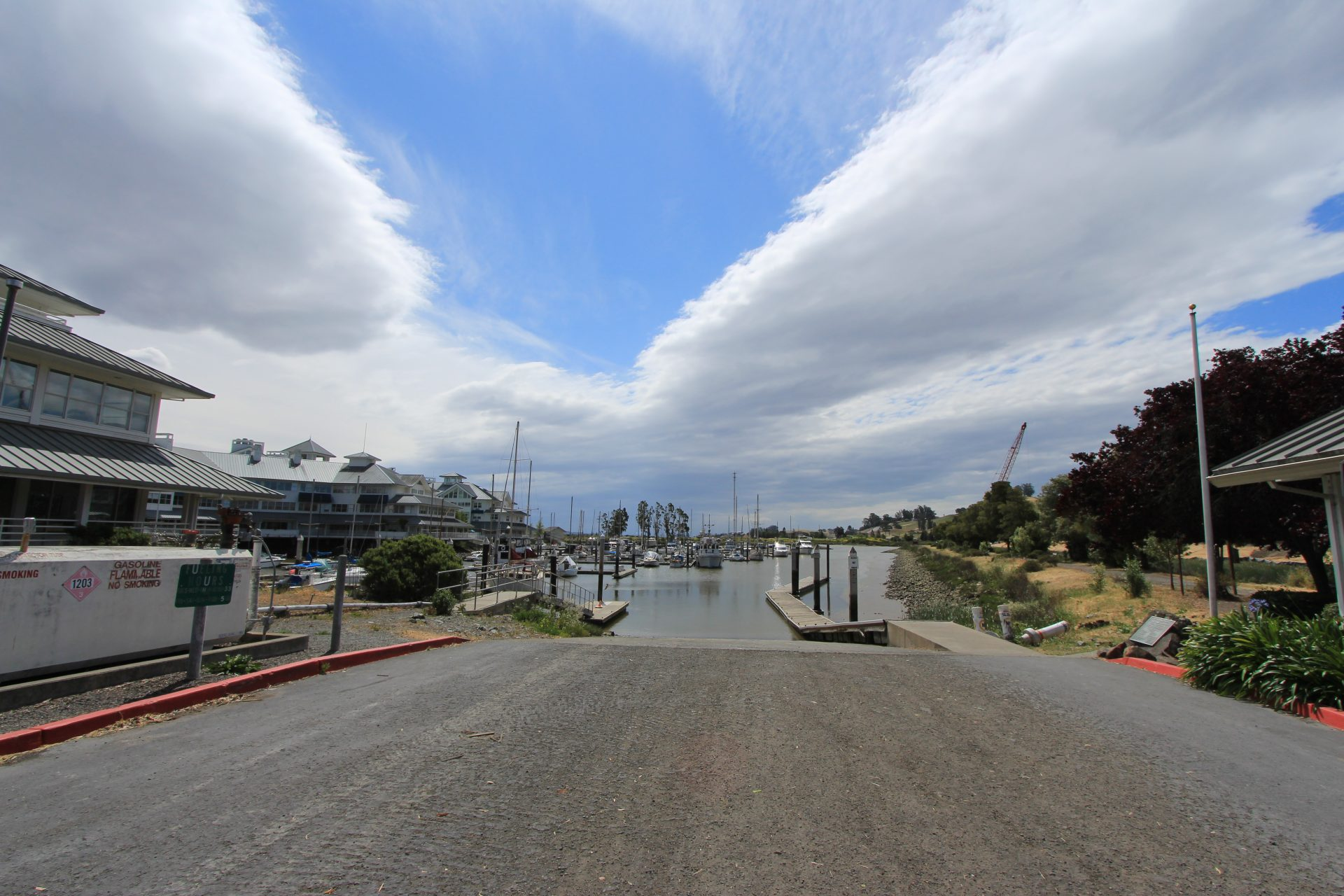 View from parking area next to boat ramp