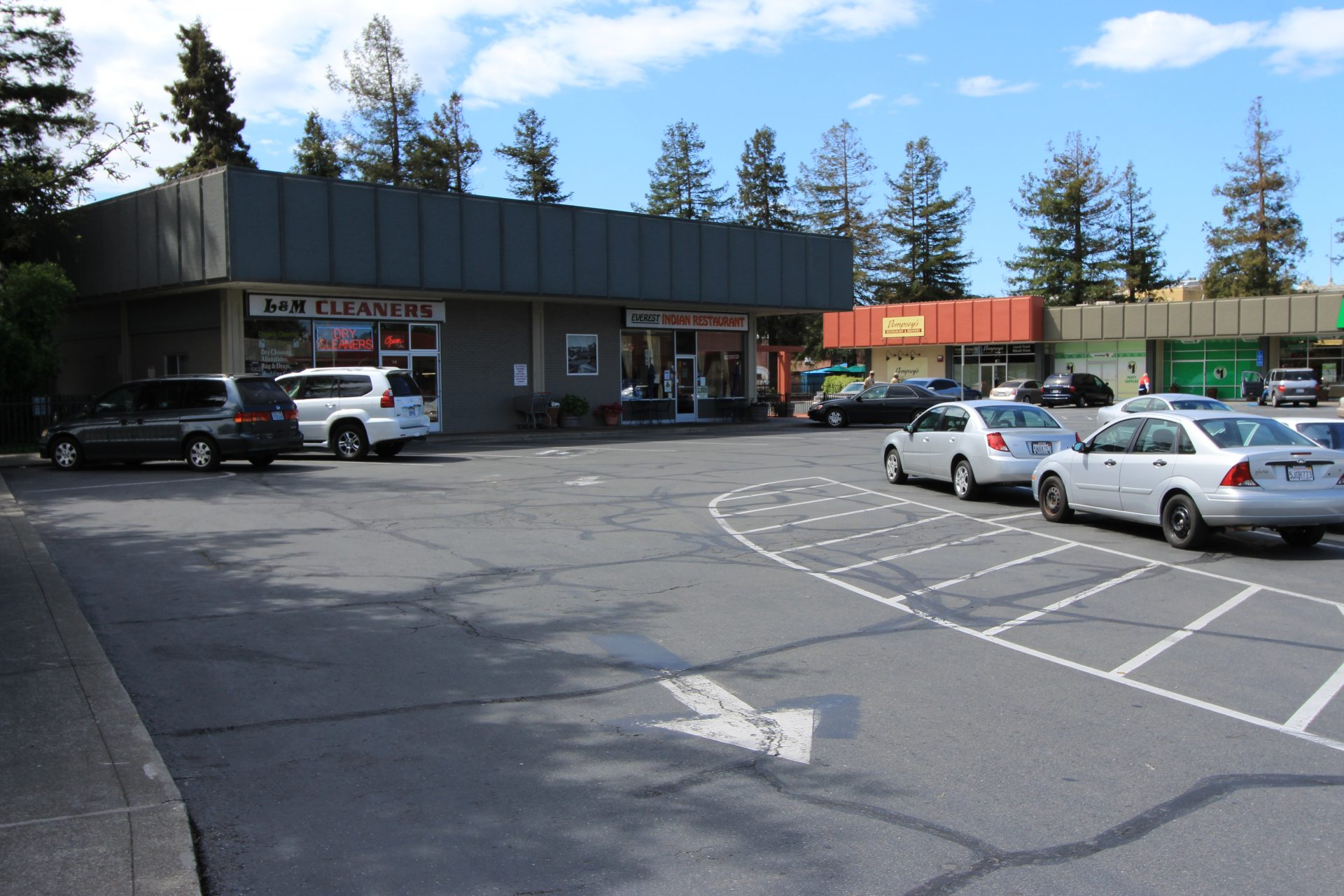 Parking lot in strip mall