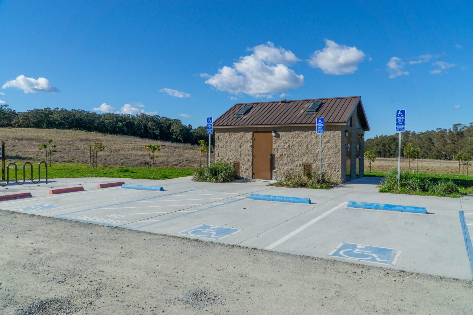 restroom and parking area