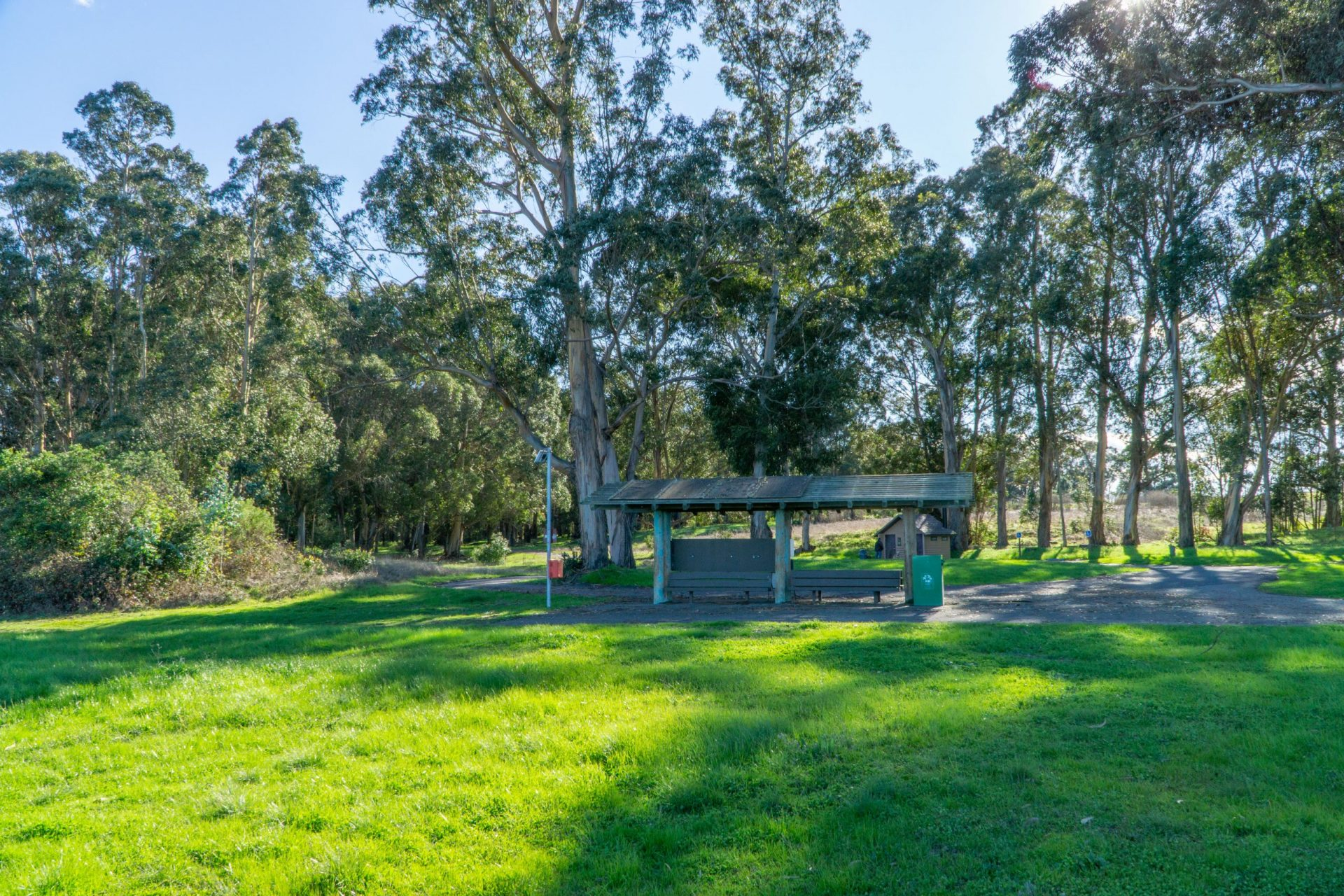 Kiosk with green grass and trees