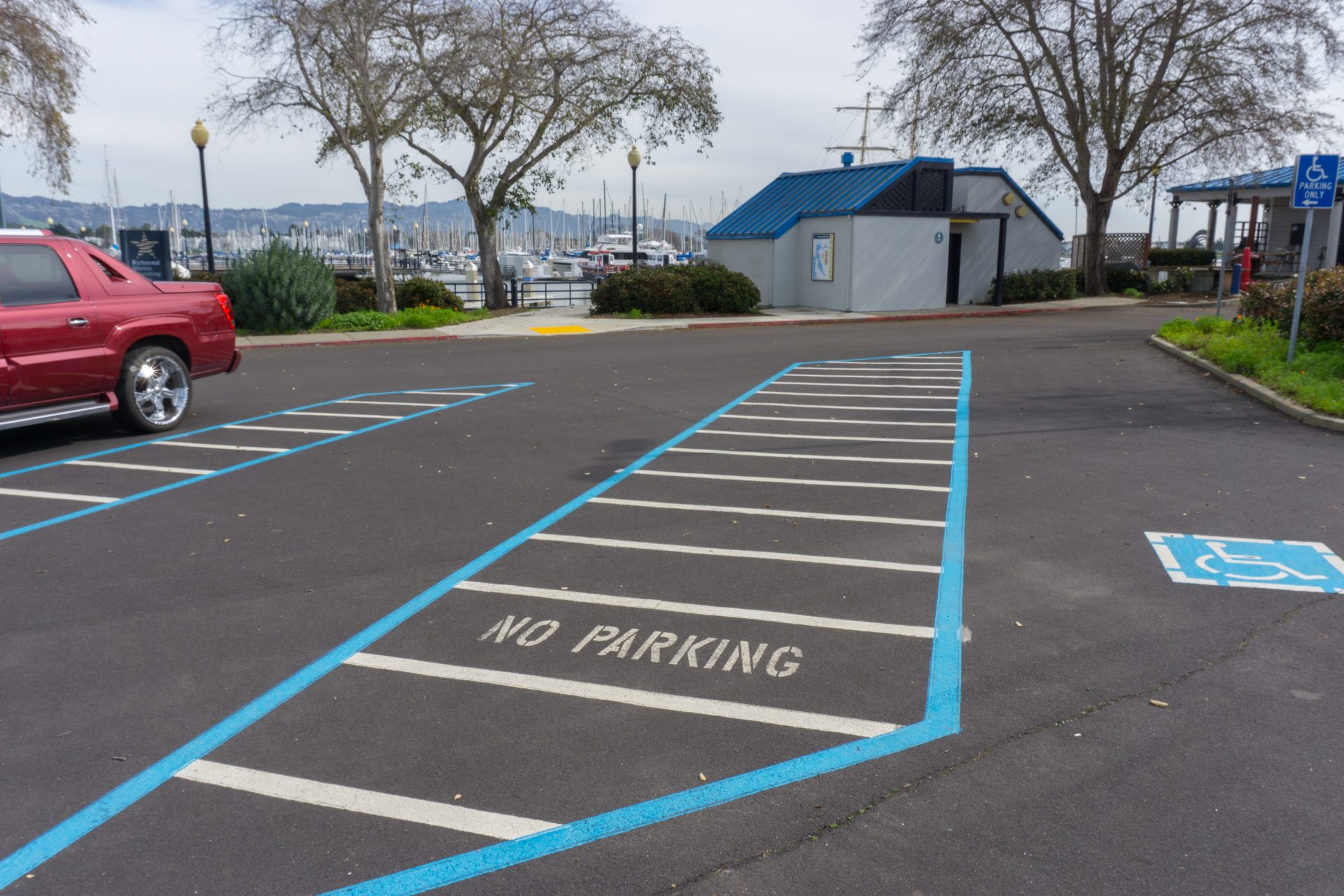 Two extra long accessible parking spots