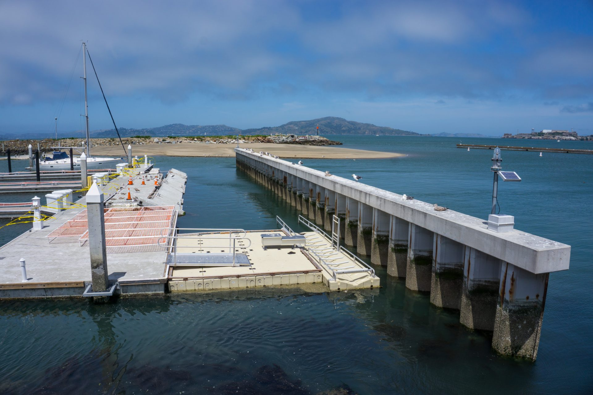 Dock with accessible kayak launch ramp