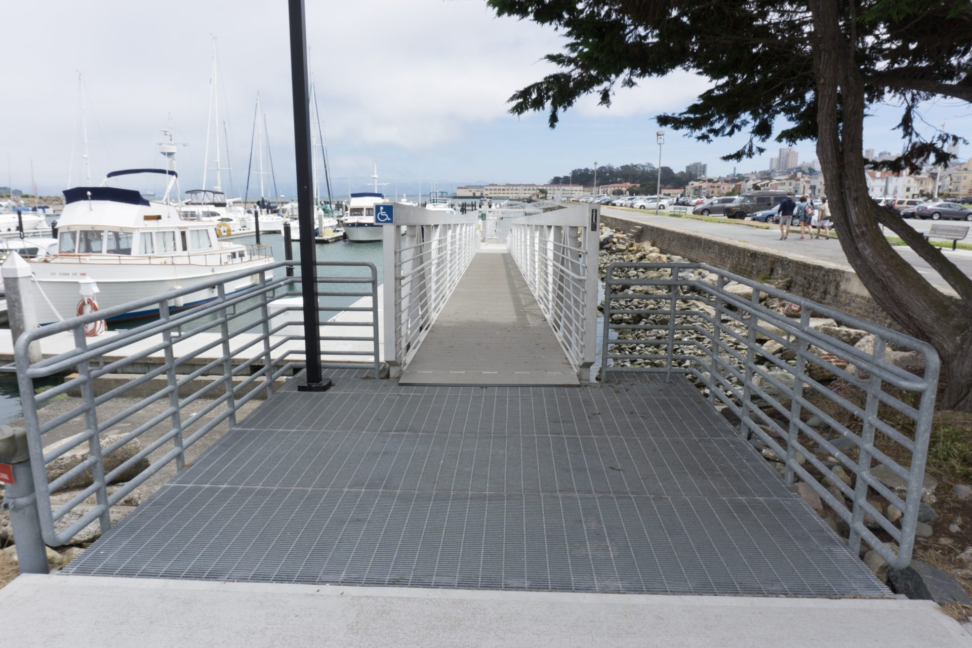 Ramp with railings down to dock