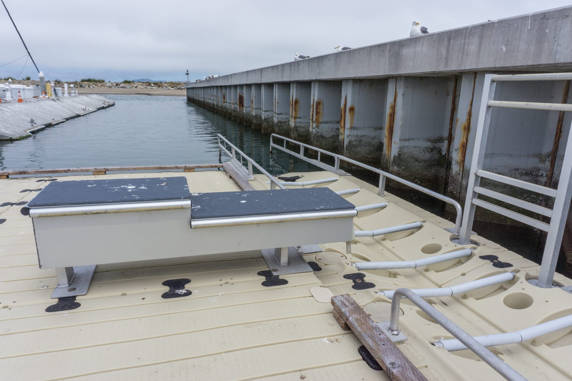 close up of accessible kayak launch ramp
