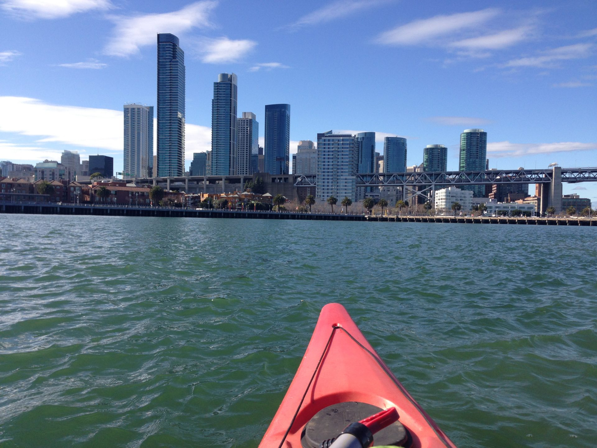 Looking from kayak to San Francisco, where Bay Bridge touches down