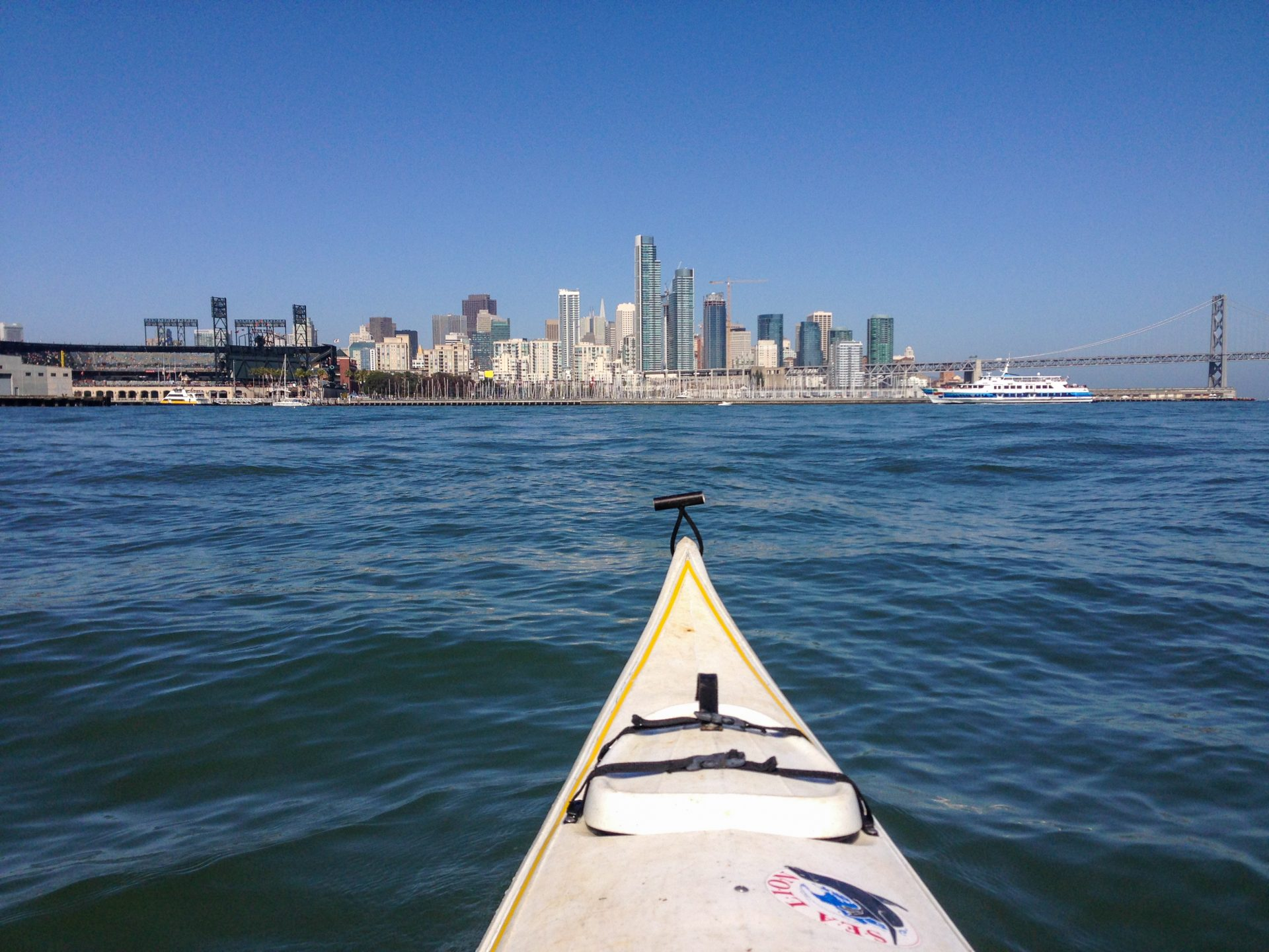 Looking from kayak to Sf, with large ferry crossing right to left