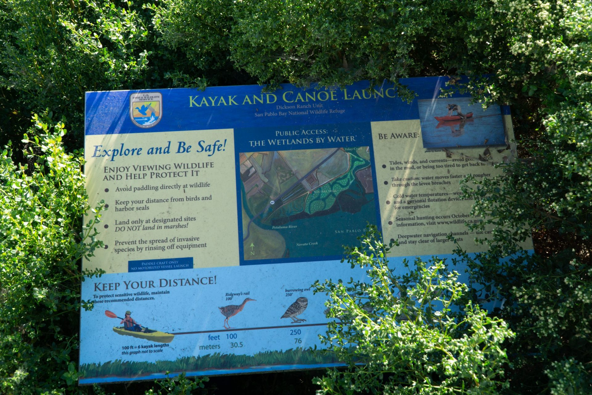 interpretive panel about safe kayaking and canoeing