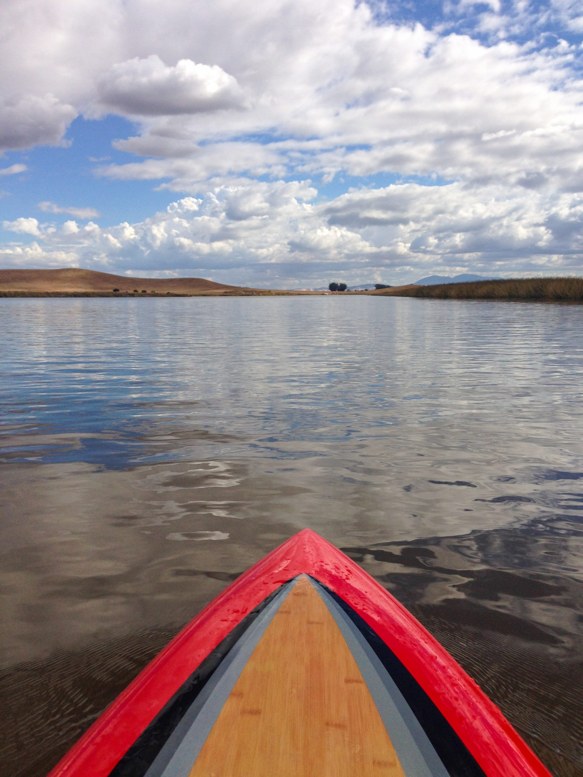 Looking from paddleboard across water