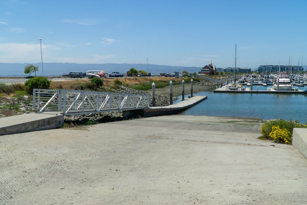 concrete boat ramp sloping into water