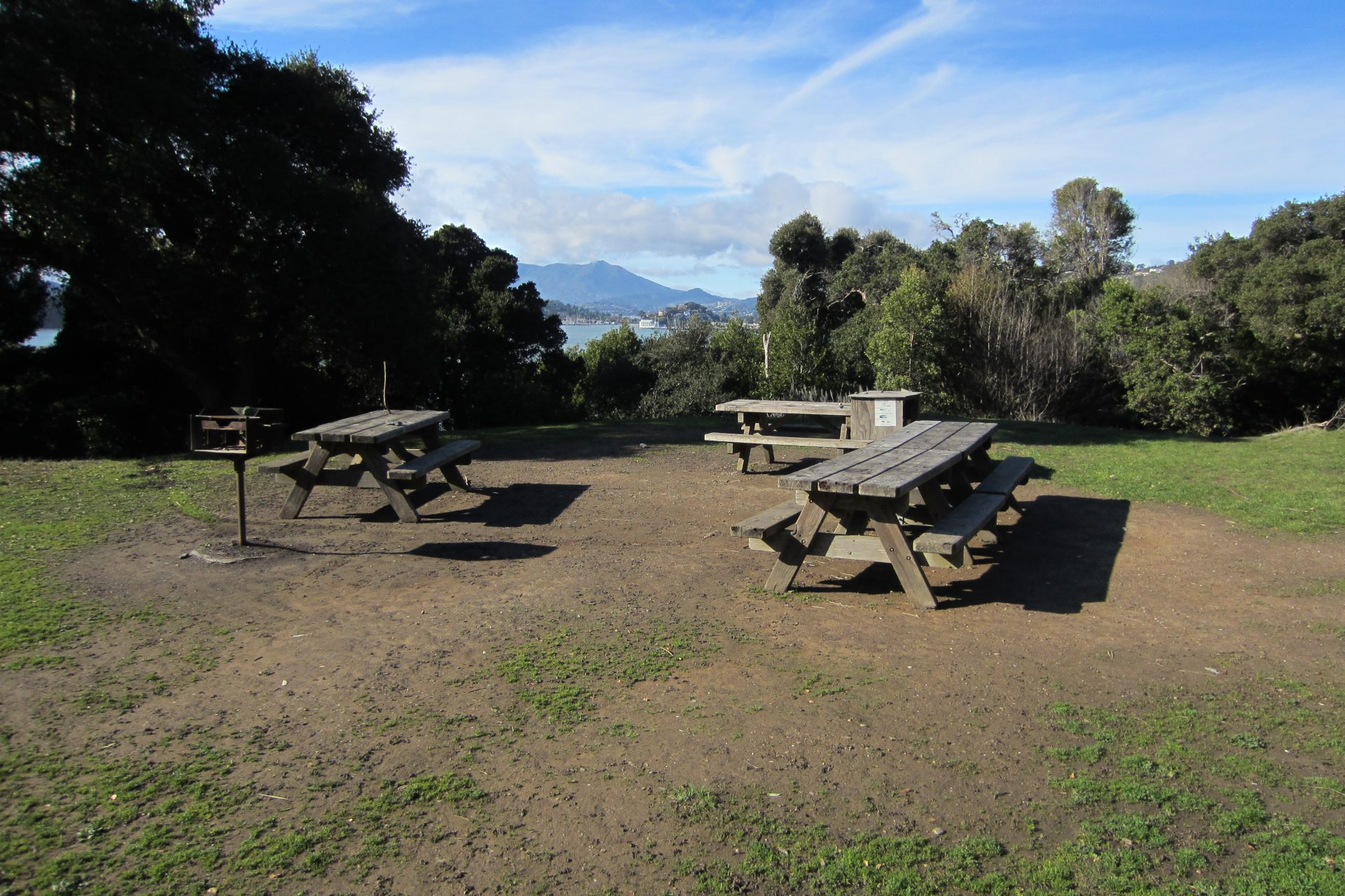 three picnic tables, metal barbecue, trees, Mat Tamalpais in distance
